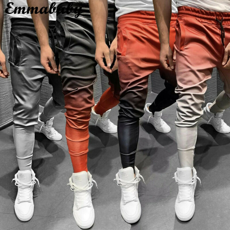 2019 Men Long Casual Sport Pants Gym Slim Fit Trousers Running Joggers Gym Sweatpants Gradient