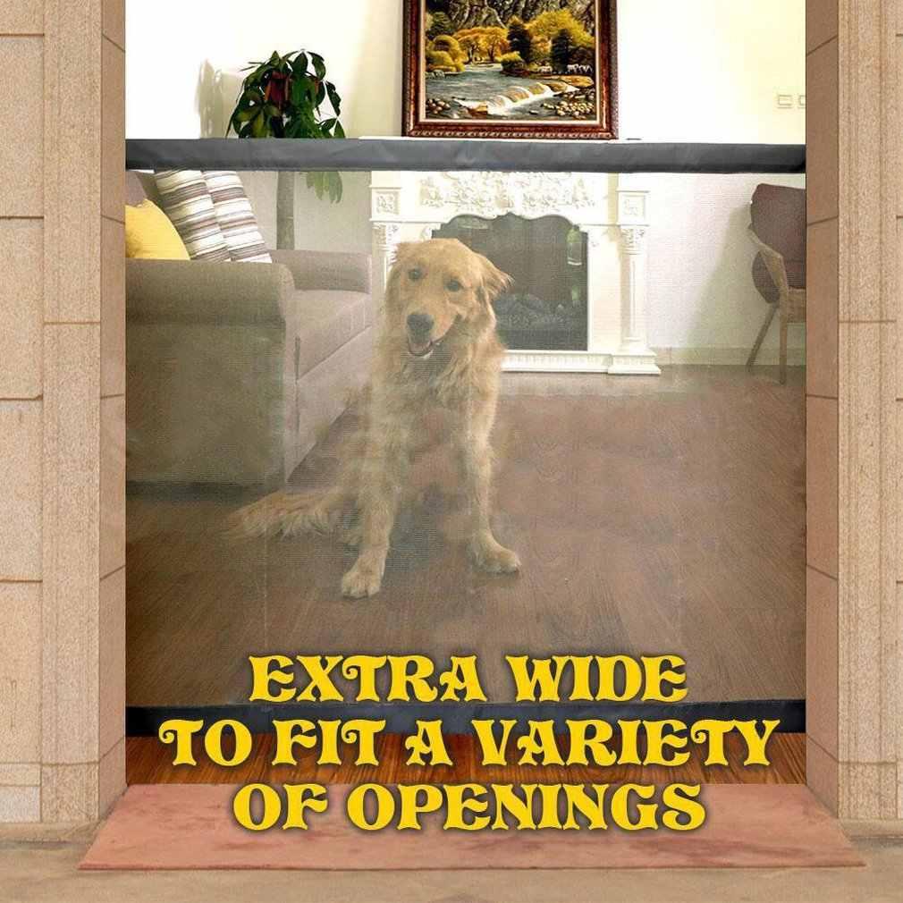 Vallas de puerta mágica para perros y mascotas protección segura plegable portátil protección interior y exterior puerta mágica de seguridad para perros y gatos, mascotas