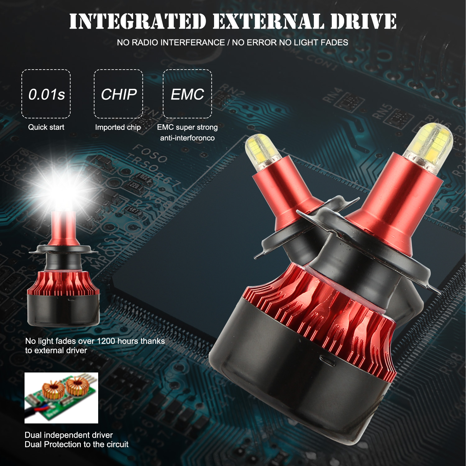 8-sides 3D H1 <font><b>H7</b></font> <font><b>LED</b></font> <font><b>Headlight</b></font> Conversion Kit Bulbs High Power 6500K <font><b>H7</b></font> H8 H11 360 degree heat radiating Fast cooling 2 Pcs image