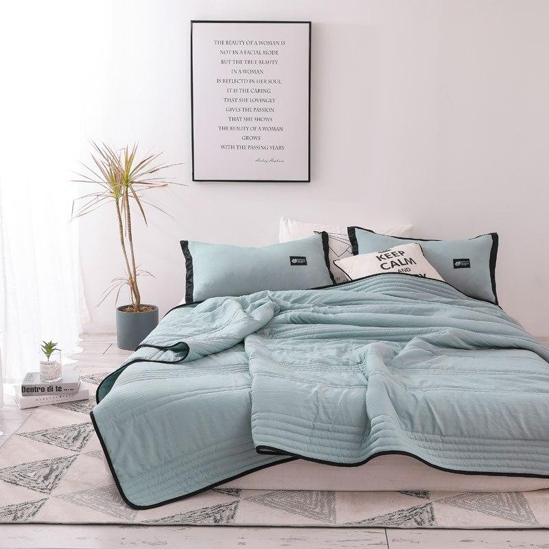 Летнее стеганое одеяло из чистого хлопка с тонкими полосками, одинарное дышащее стеганое одеяло для офисной кровати и дивана Одеяла      АлиЭкспресс