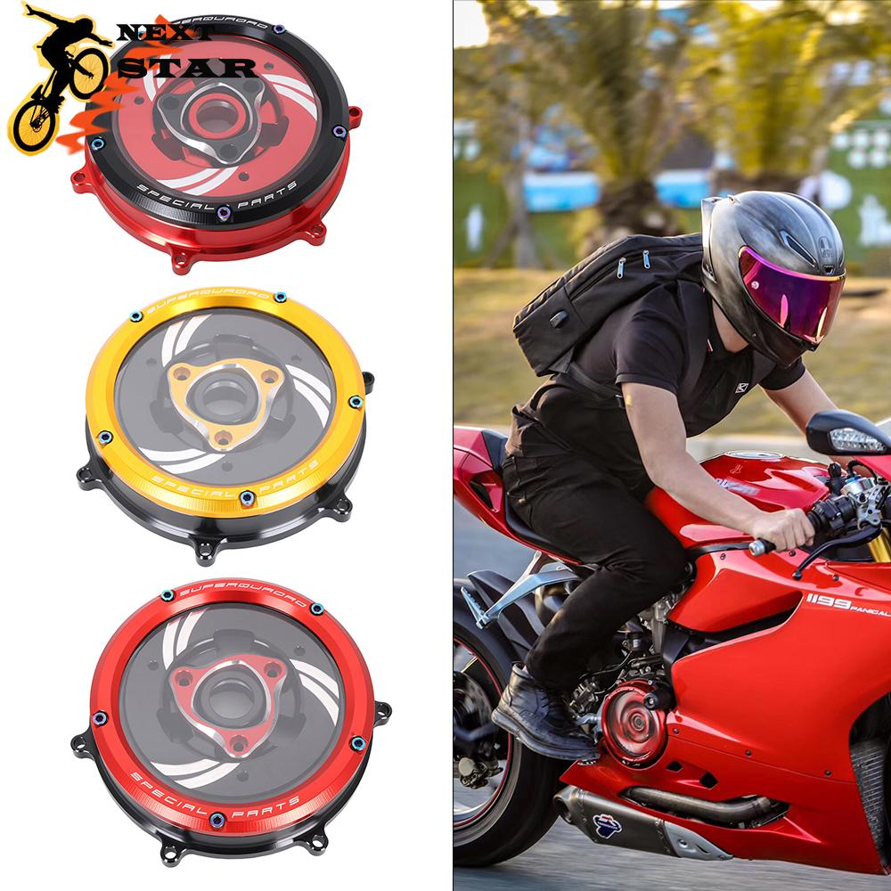 Motorcycle CNC Transparent Clutch Protection Case Cover For Ducati 959 1199 1299 Panigale 2012-2014 2015 2016 2017 2018 2019