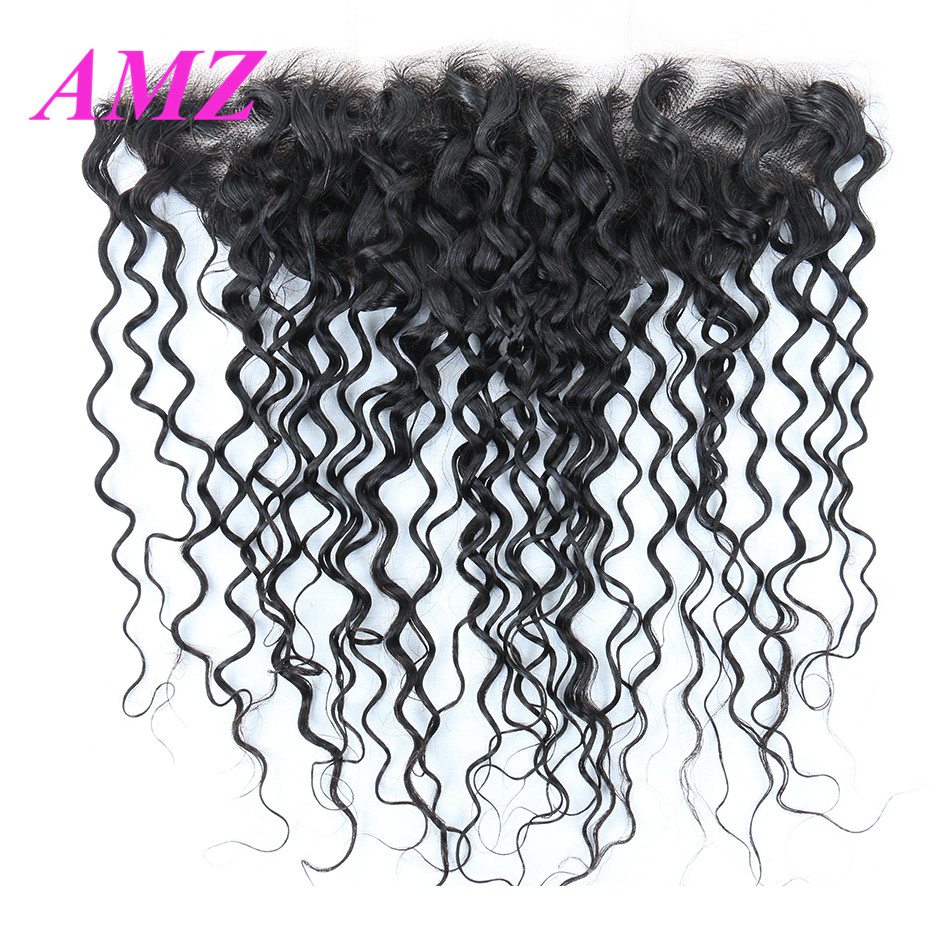 13x4 Water Wave Lace Frontal Closure With Baby Hair Peruvian Remy Human Hair Closure Swiss Lace Frontal AMZ
