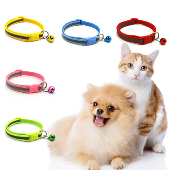 Pet Collars Necklace Reflective Collar With Bells For Small Medium Dogs Neck Adjustable Flashing Safe Puppy Kitten Cats Collar image