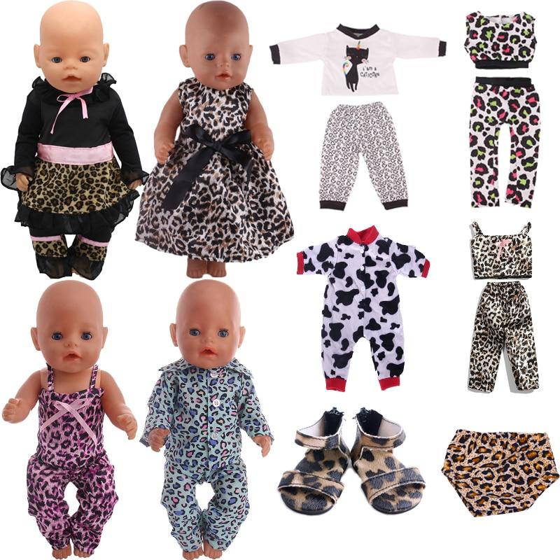 Lalka ubierać buty Leopard nadruk z krową na 18 Cal amerykańska lalka dziewczyny i 43 Cm noworodki rzeczy dla dziecka, nasze pokolenie, akcesoria dla lalek