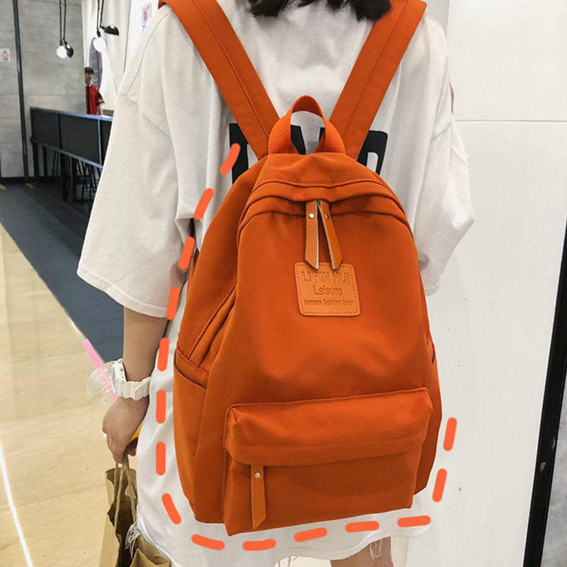 Fashion Women Canvas Backpack Solid Color Female Shoulder Bags Casual School Bag for Teenage Girl Children Backpacks Travel Bags