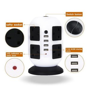 Image 3 - Tower Power Strip Vertical UK Plug Adapter Outlets 8 way AC Multi Electrical Sockets with USB Surge Protector 3m Extension Cord