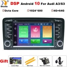 ثماني النواة DSP أندرويد 10 مشغل أسطوانات للسيارة لتحديد المواقع لأودي A3 2003 2011 مع مشغل ديفيدي راديو ستيريو الصوت السيارات الوسائط المتعددة شاشة الملاحة