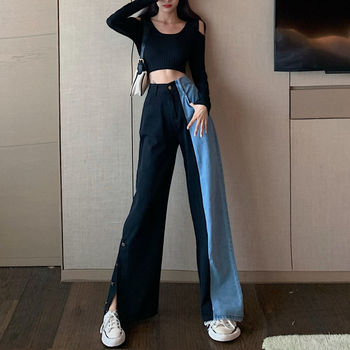 Women Jeans Pants Leisure Loose High Waist Vintage wide leg Split jeans Streetwear Simple Full-length Harajuku Straight Pants full cotton 2019 wide leg women pants high waist loose straight lady jeans with pockets zippers and ripped design spring summer