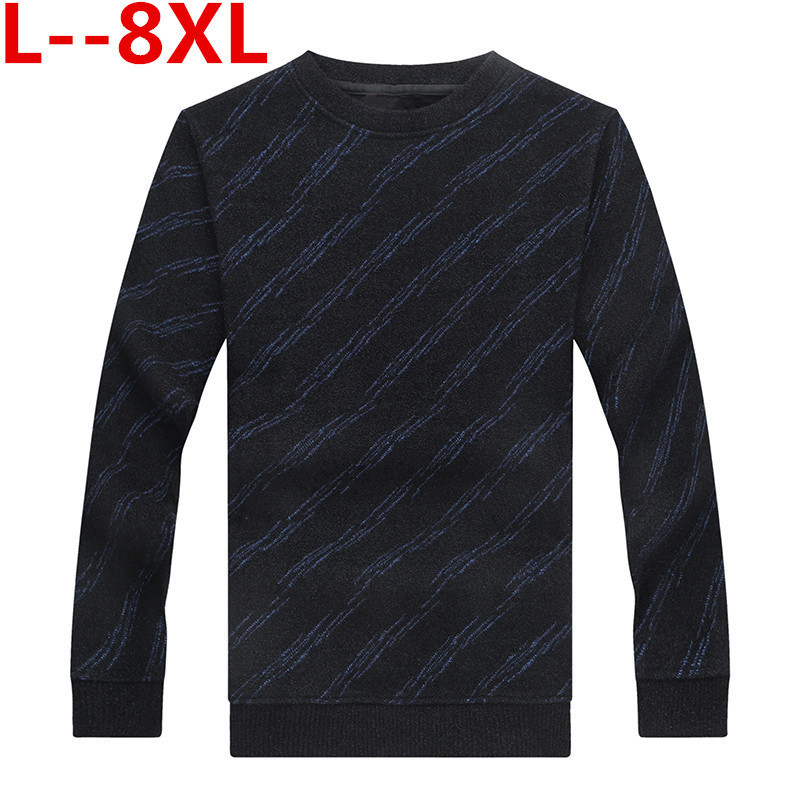 8XL 6XL 5XL Autumn Winter Fashion Brand Clothing Pullover Mens Sweaters O-Neck Solid Color Slim Fit 100% Cottn Sweaters For Men