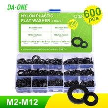 600 adet siyah naylon yıkayıcılar düz yıkayıcı çeşitler kiti, M2, M2.5, M3, M4, M5, m6, M8, M10, M12 yıkayıcılar yıkayıcılar Spacer conta halkası