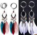 2Pcs Feather Dangle Ear Plugs Tunnels Stretchers Ear Piercing Plugs and Tunnels Expansion Reamer Body Jewelry Gauges Earrings