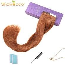 Ruban ShowCoco dans de vraies Extensions de cheveux humains, Remy fabriqué à la Machine, ruban bleu Double face Invisible couleurs sombres pour cheveux fins 20pc