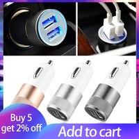Cargador de coche Dual adaptador de cargador de coche USB 3.1A, aleación de aluminio para teléfono inteligente/tableta, iPhone 11 X Plus TSLM1