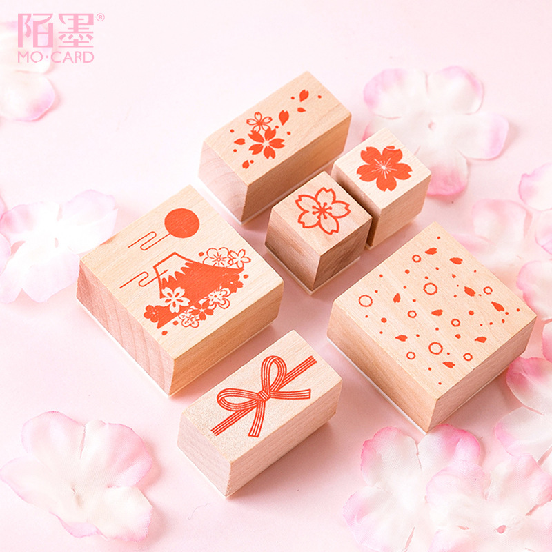 Creative Cute Sakura Wood Stamp DIY Craft Wooden Rubber Stamps Decoration For Scrapbooking Diary Scrapbooking Standard Stamp
