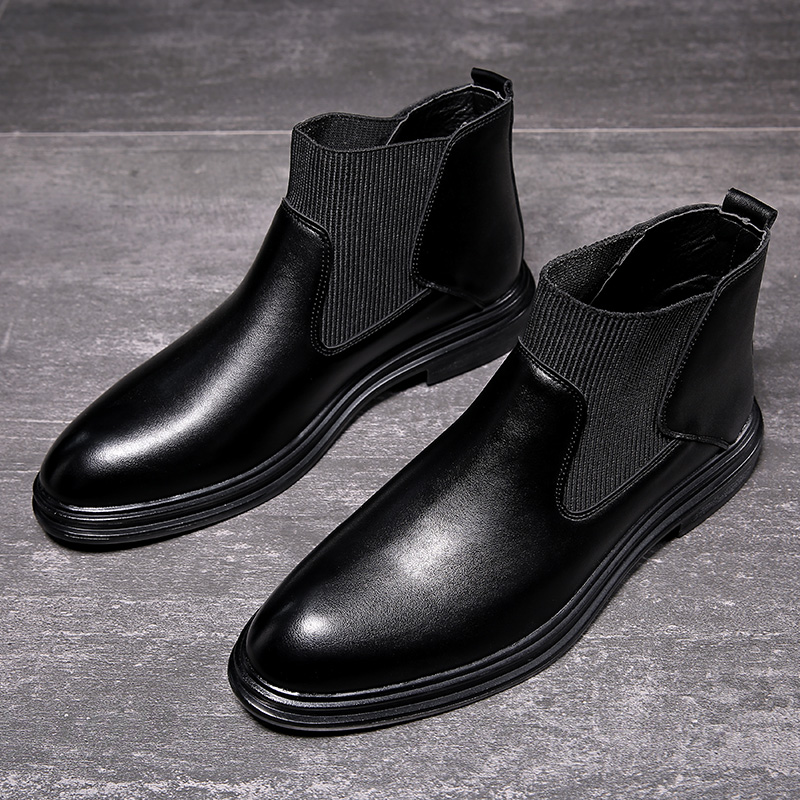 Yomior Autumn Winter Casual Cow Leather Vintage Men Shoes Pointed Toe Breathable Fashion Ankle Boots Dress Wedding Chelsea Boots