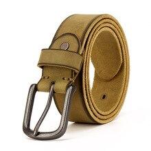 Cinto de couro genuíno masculino, cinto de couro estilo cowboy do old rusty preto com fivela retrô vintage homme