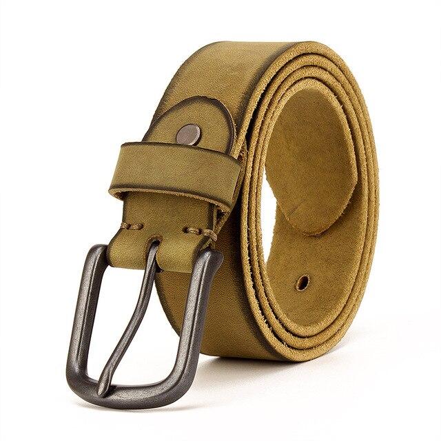 Top Cow genuine leather belts for men jeans Do old rusty black buckle retro vintage mens male cowboy belt ceinture homme