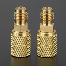 2 pièces R410a laiton adaptateur Joints 1/4 mâle à 5/16 femelle SAE adaptateur pivotant pour R410A Mini système de cvc divisé