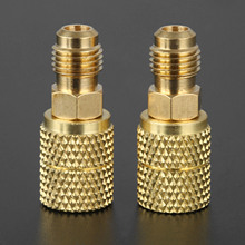 2Pcs R410a Brass Adapter Joints 1/4 Male to 5/16 Female SAE Swivel Adapter for R410A Mini Split HVAC System
