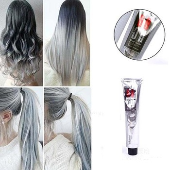 New 1Pc 100Ml Fashion Smoky Gray Punk Style Light Gray Silver Color Nature Permanent Super Hair Dye Cream Girls Beauty Hair 1