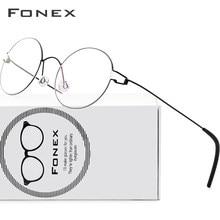FONEX screwless óculos de prescrição quadro feminino redondo miopia óptica dinamarca coreano óculos frame masculino titânio 98607