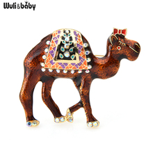 Wuli&baby 2-color Camel Brooches Women Alloy Enamel Animal Casual Party Brooch Pins Gifts