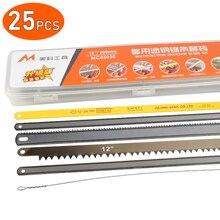 "25PCS Hacksaw Blades Kit Replacement 12"" Flexible 18 TPI 24 HSS Multifunctional Metal Wood Aluminum Cutting Hack Saw Blade"