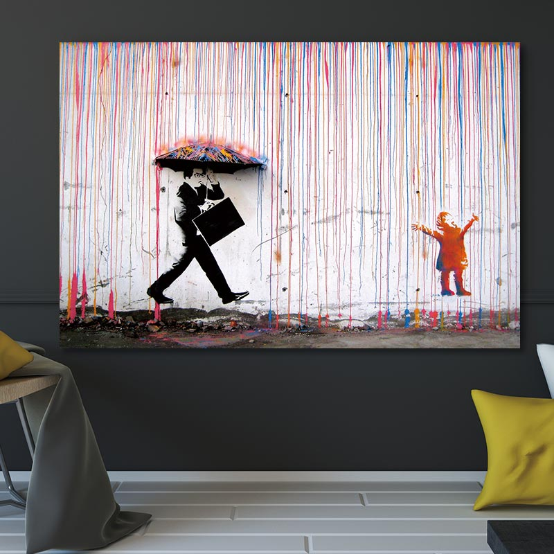 Banksy Colorful Rain Posters And Prints Wall Art Canvas Painting Artwork Wall Pictures For Home Decor No Frame