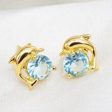 Cute Dolphin Animal Stud Earrings Gold-Color Stud Earrings for Women Girls Gift