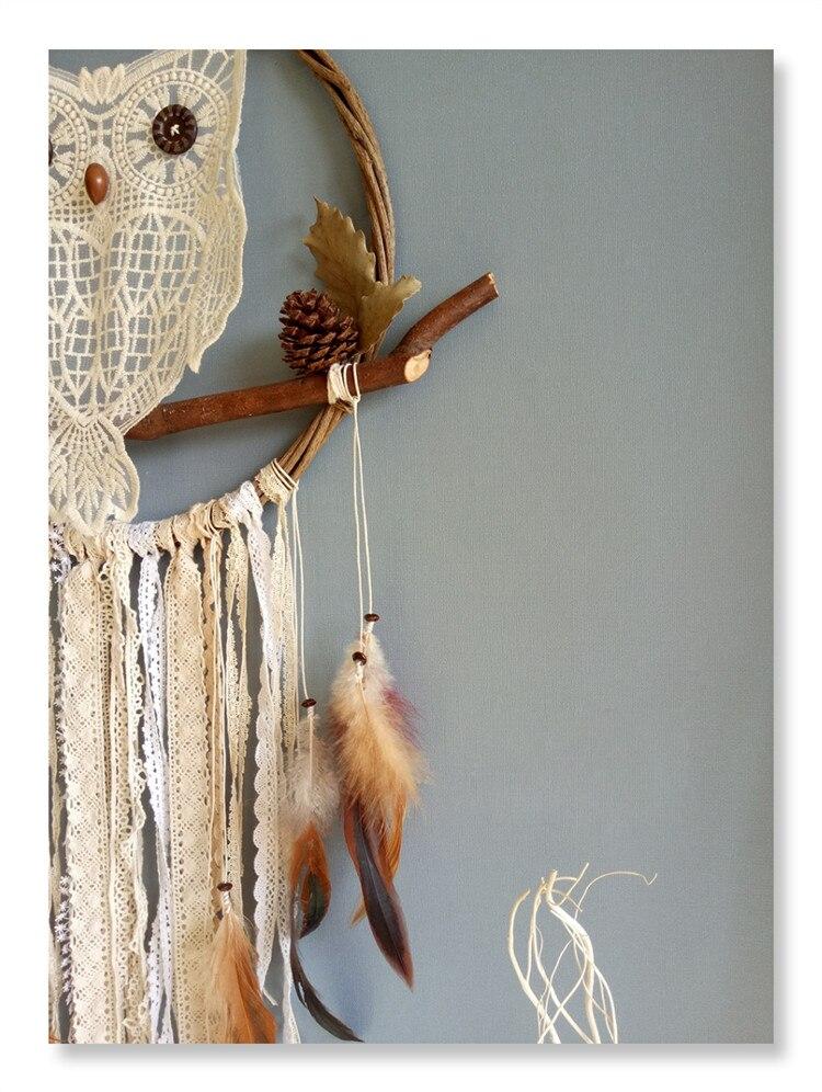 Ручной работы Ловец снов ветряные колокольчики Висячие обруч из ротанга Сова перо домашний декор - 3