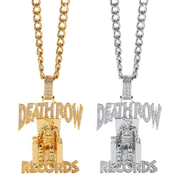 цена на Hip hop cuban chain necklace Death Row Records Pendant Iced Out Bling Rhinestone Streetwear chain necklaces jewelry for rapper