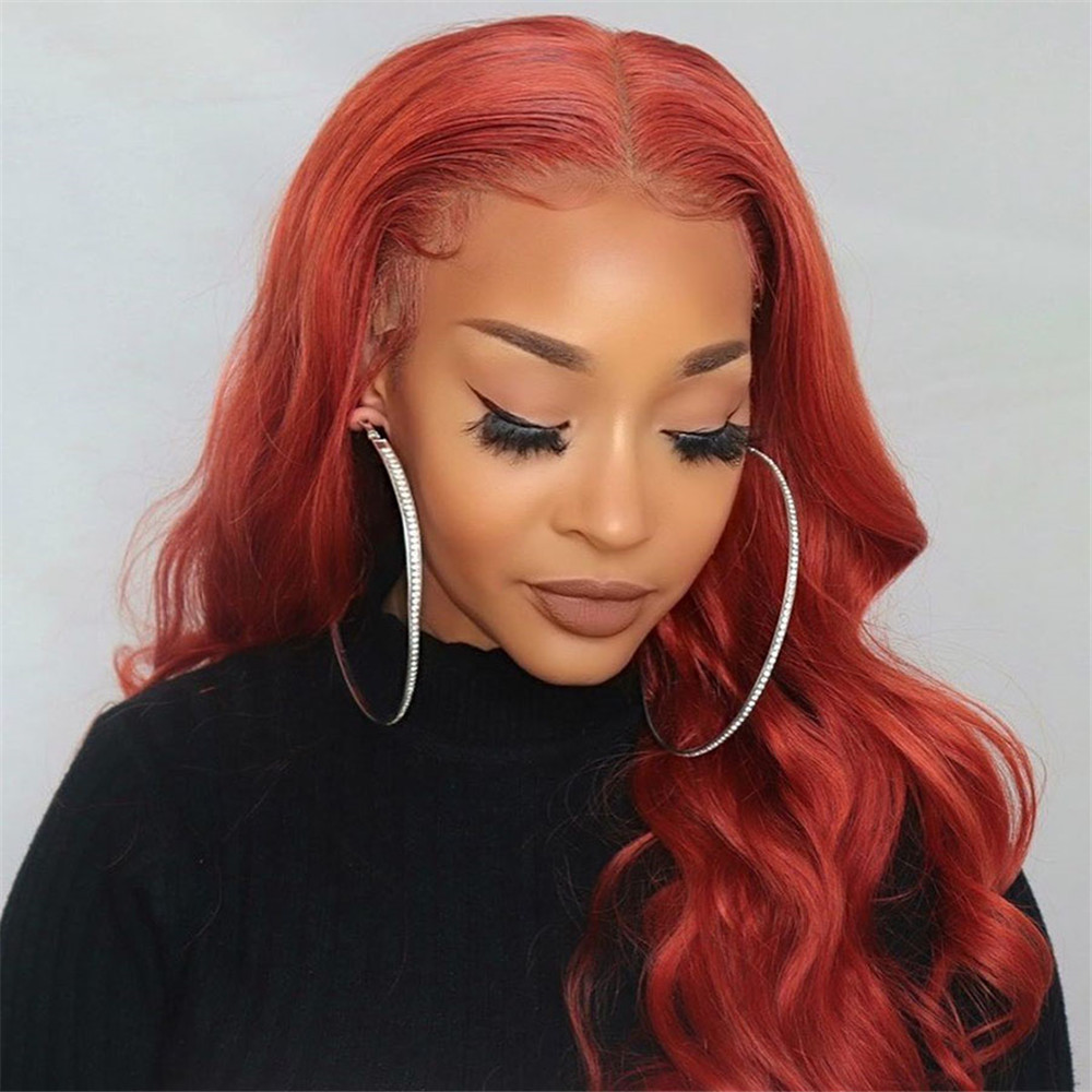Orange Brown Full Lace Wigs Brazilian Remy Human Hair Body Wave Bleached Konts Glueless Wigs With Baby Hair For Women