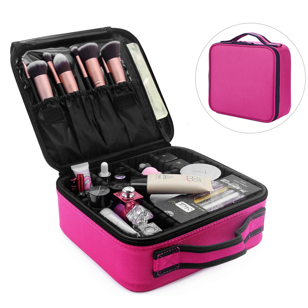 Makeup Bag Multifunction Case Accessories Zipper Cosmetic Travel Organizer Portable Jewellery With Adjustable Dividers Handle