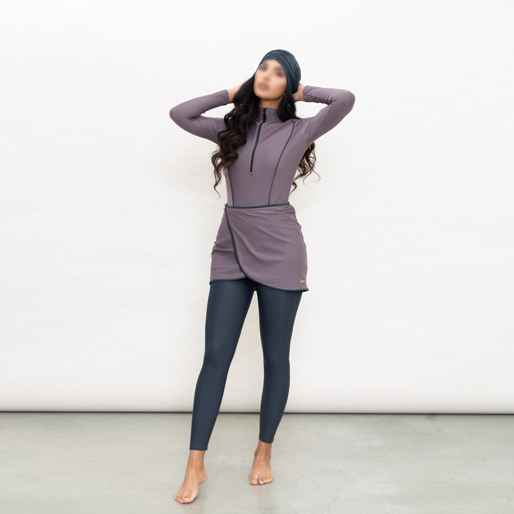 Women Plus Size Muslim Swimsuit Burkinis Modest Clothing Islamic 3 Pieces Muslimah Hijab Full Cover Swimwears Muslim Fashion