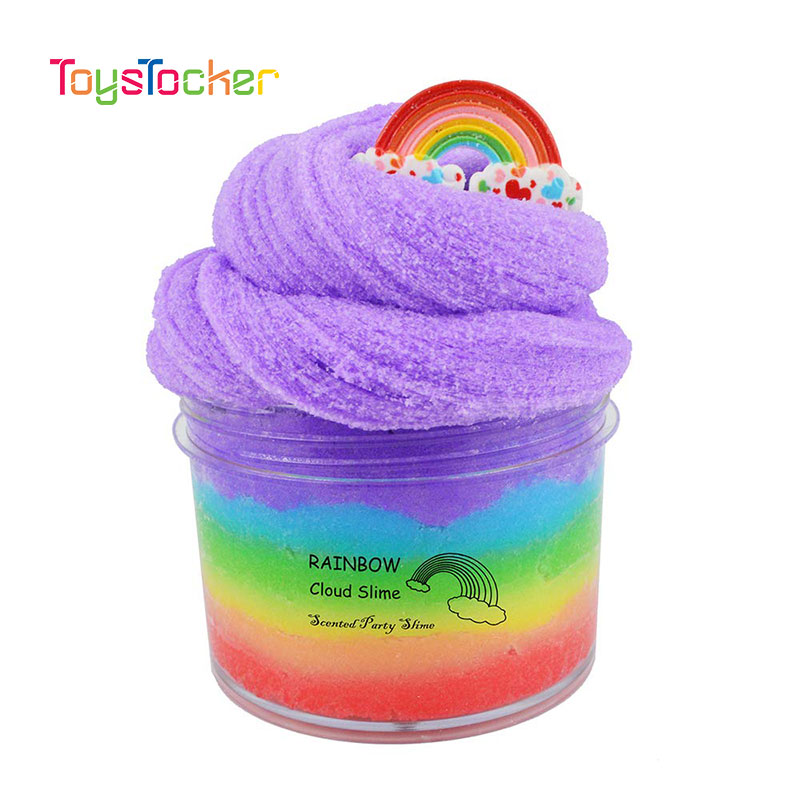 Modelling Of The Rainbow Fluffy Slime Putty Soft Clay Light Plasticine Playdough Slime Charms Gum Polymer Clay Antistress