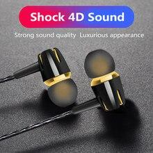 1pcs Com Fio Fone De Ouvido 3.5mm Jack In-ear fone de ouvido Fone de Ouvido Subwoofer Chamada HD Handfree fone de Ouvido Esporte Com Misphone Para PC/Telefone/MP3