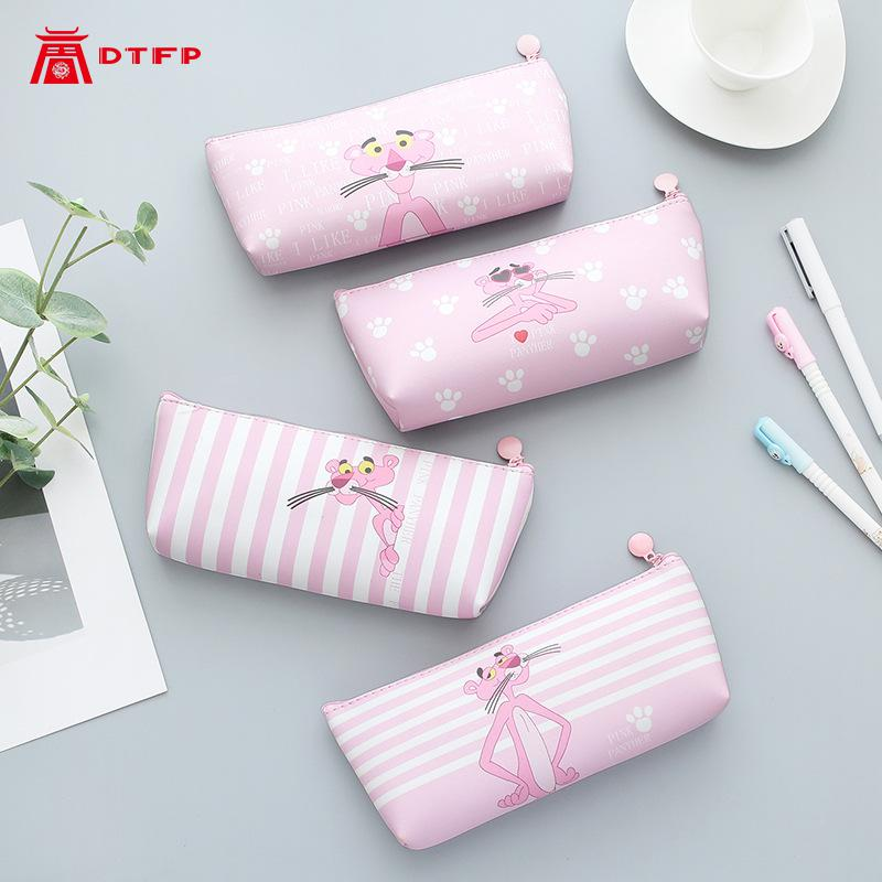 Pencilcase Girl Heart Pink Leopard Pencil Bag Cute Small Fresh Student Stationery Creative Large Capacity Pouch
