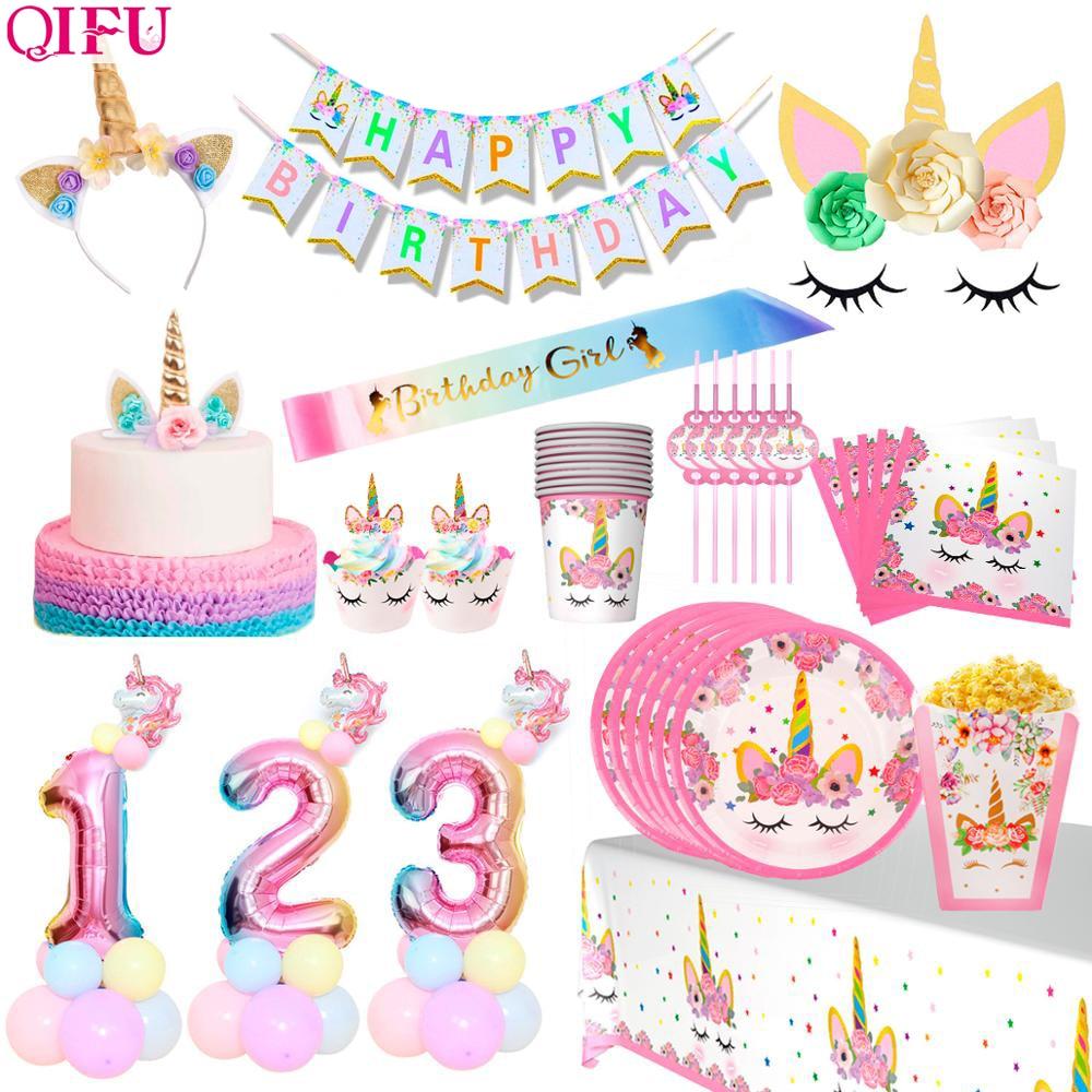 QIFU Единорог Декор одноразовая посуда мой маленький пони день рождения единорог украшение на день рождения Единорог товары для вечеринки Ед...