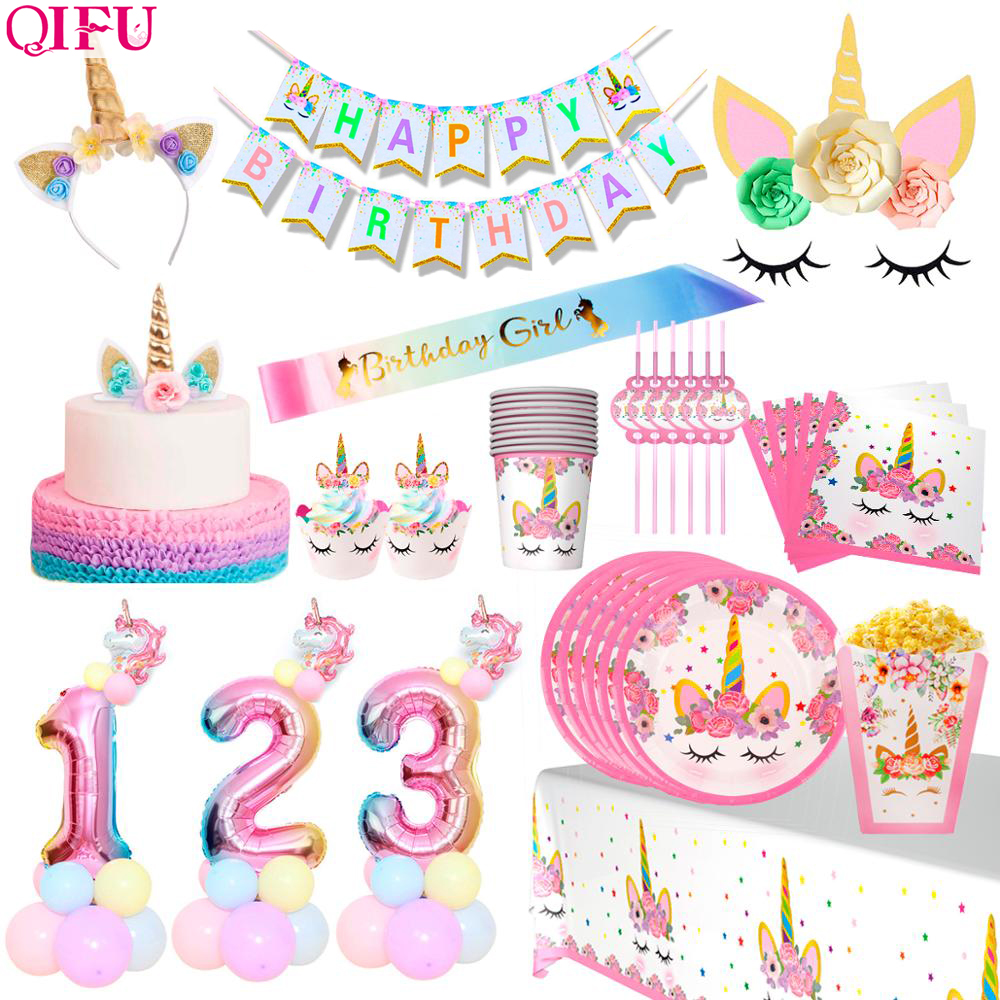 QIFU <font><b>Unicorn</b></font> <font><b>Decor</b></font> Disposable Tableware My Little Pony Birthday <font><b>Unicorn</b></font> Birthday Party <font><b>Decor</b></font> <font><b>Unicorn</b></font> Party Supplies Unicornio image