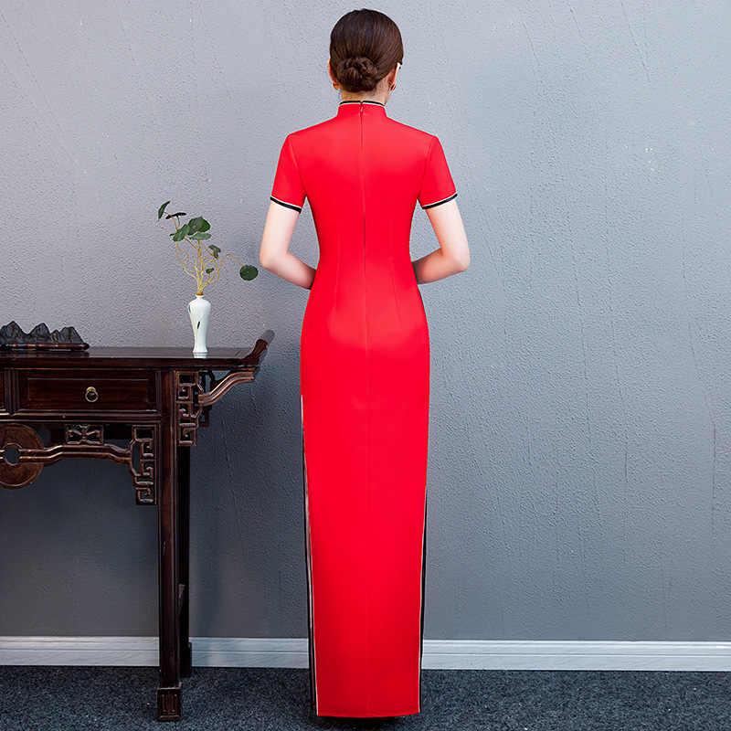 Kırmızı kadın akşam Cheongsam çin tarzı bayan parti elbise oryantal zarif uzun Qipao seksi ince düğün törenlerinde Vestidos S-5XL
