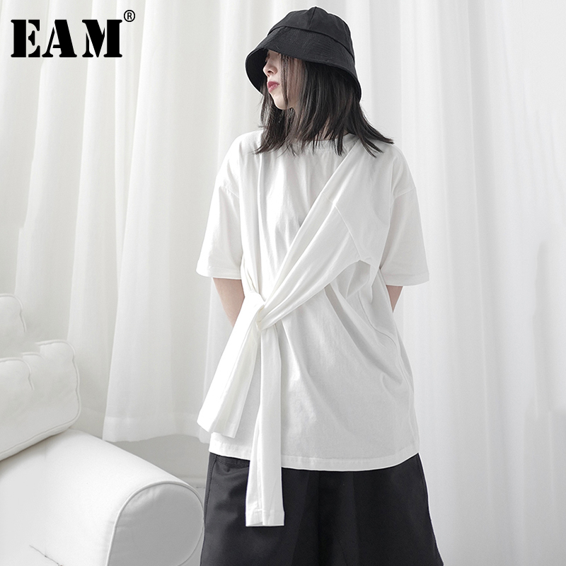 [EAM] Women White Brief Bandage Split Big Size T-shirt New Round Neck Half Sleeve  Fashion Tide  Spring Summer 2020 1T700