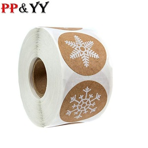Kraft stickers Christmas Gift Decoration Sticker for Package Stationery stickers festival happy decorations Seal Labels