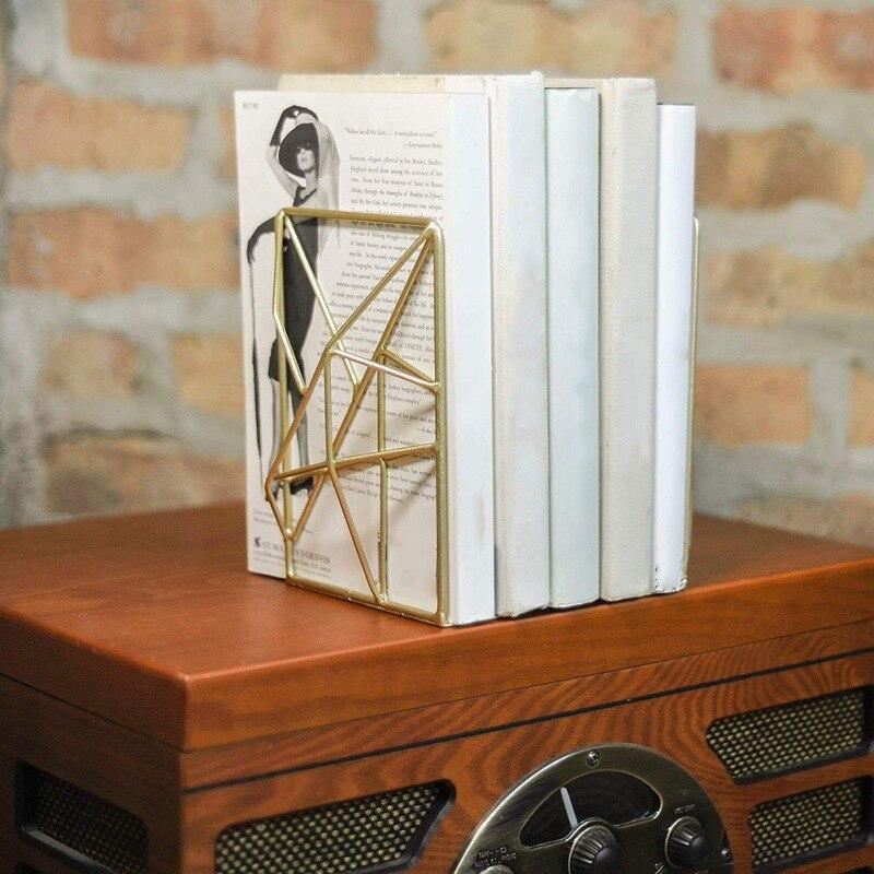 Conical Bookshelf Iron Magazine Newspaper Organizer Desktop Book Stand Holder Bookends Home Office Stationery Storage Organizer