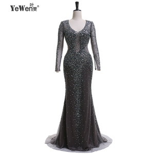Image 4 - YEWEN argent gris formel robe de soirée 2020 Sexy col en v Noble femmes robes longues seleeves étage longueur fête robes de bal