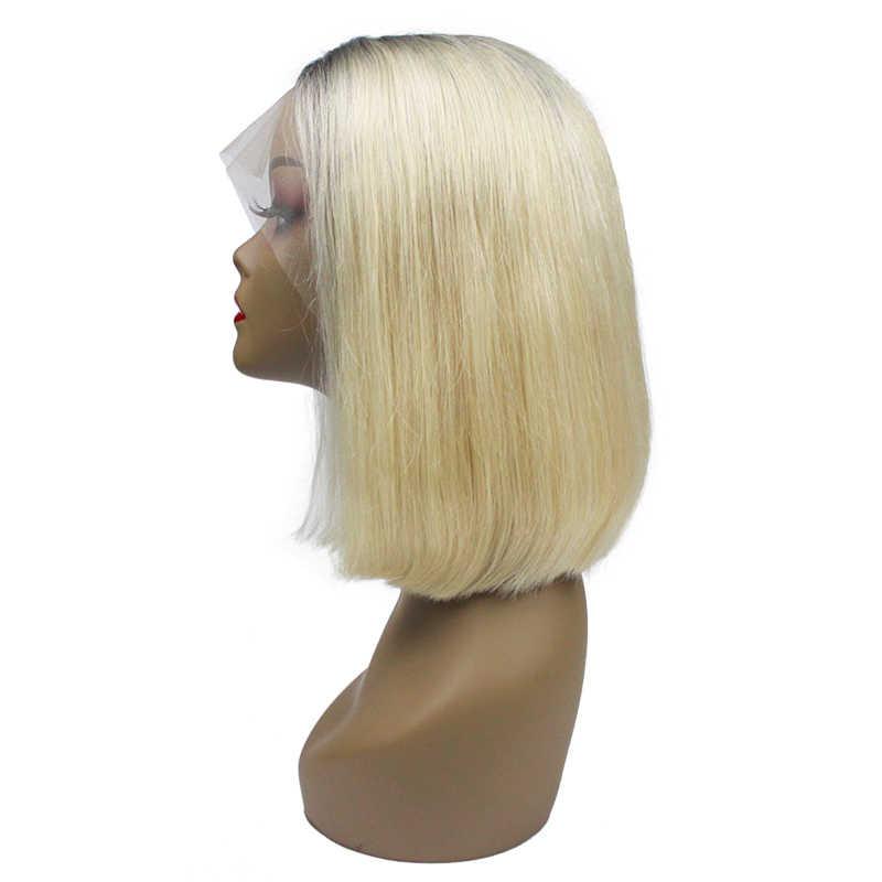 1B/613 ciemne korzenie 613 blond Ombre kolorowe peruka z krótkim bobem 13x6 13x4 180% koronki przodu włosów ludzkich peruk dla czarnych kobiet prosto Remy