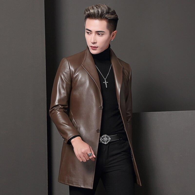 100% Genuine Leather Jacket Men Winter Autumn Clothes 2020 Streetwear Slim Fit Real Sheepskin Coat Long Jackets T-68-8009