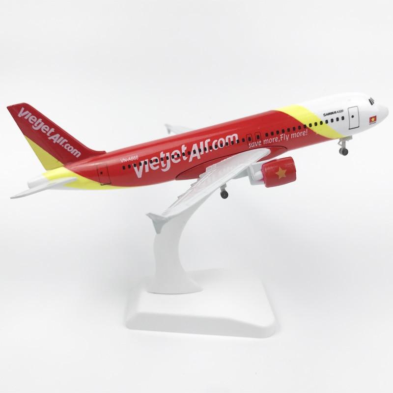 20CM Alloy Aircraft Model 320 Vietnam Airlines Vietjet Alloy Aircraft Model Aircraft Model Children Toy Aircraft Model