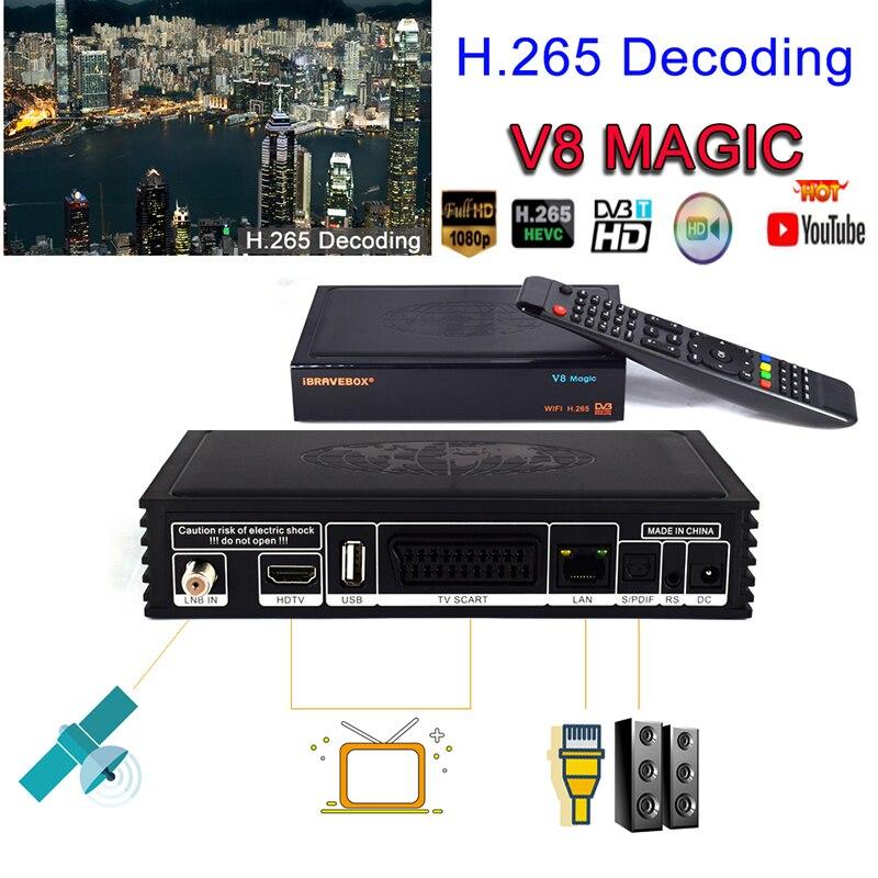 Decodificador h.265 ТВ IP tv BOX satelital бесплатно V8 Магическая цифровая спутниковая коробка HD ТВ тюнер Поддержка IP tv EPG Cccam Youtube