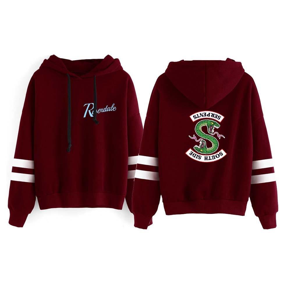 WAMNI Riverdale Hoodie Sweatshirts South Side Serpents Hoodie Women Long Sleeve Striped Pullover Tops Harajuku Hoodie Streetwear