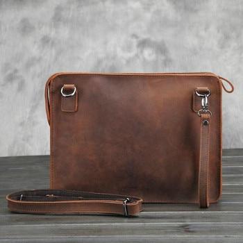 100% Original Crazy Horse Genuine Leather Retro Briefcase Bags Men Vintage Business Envelope Laptop Messenger Bag New